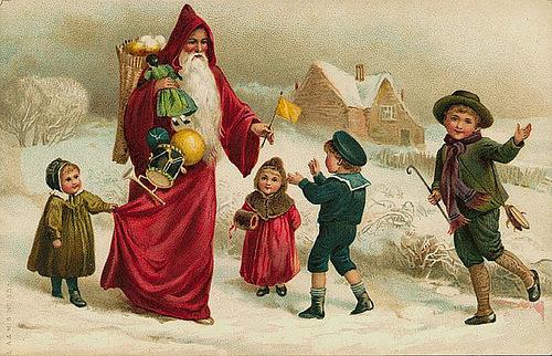 Винтажные открытки санта клаус и дети